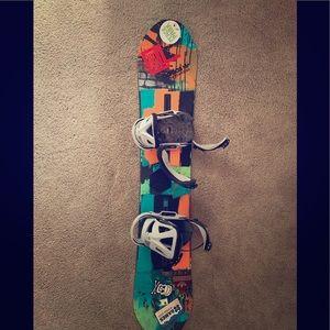140 Centimeter Burton Snowboard and Bindings.